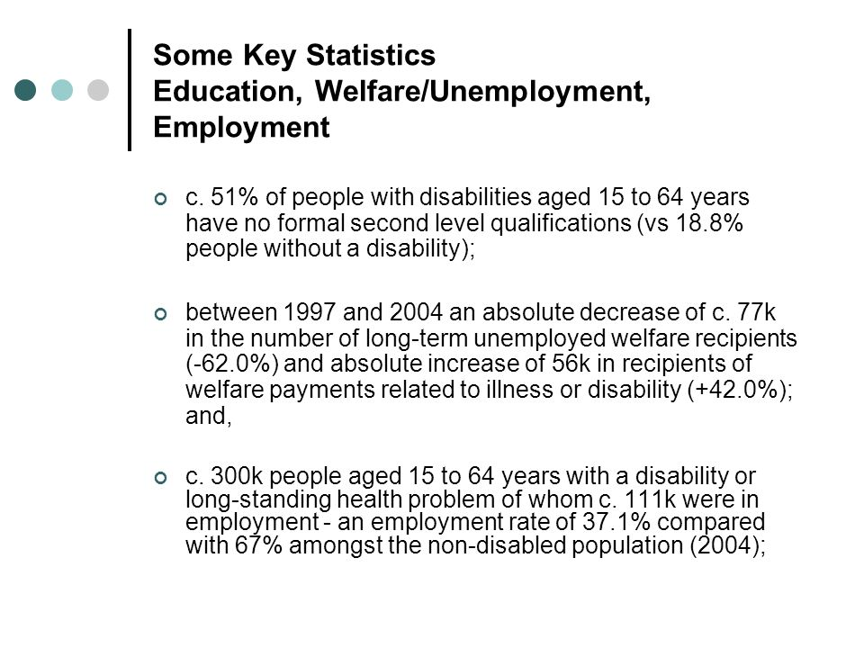 Core Issues from the Literature (1): Employment and Labour Market Integration of PwD IssueCommentators General Need for integrated, coordinated strategy for integration and reintegration of people with disabilities into the labour market and employment.