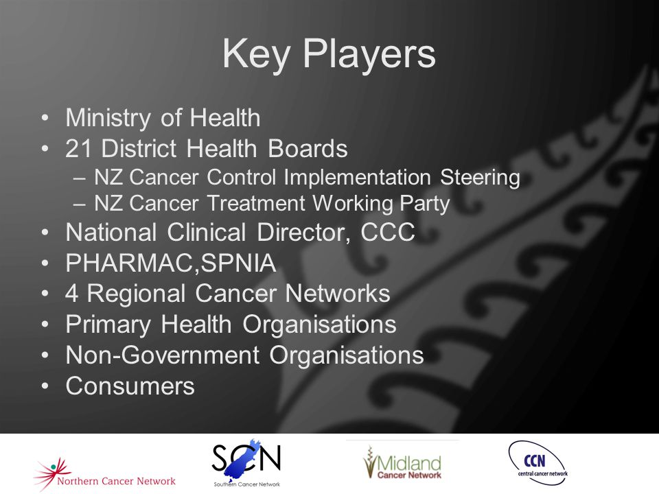 Key Players Ministry of Health 21 District Health Boards –NZ Cancer Control Implementation Steering –NZ Cancer Treatment Working Party National Clinic