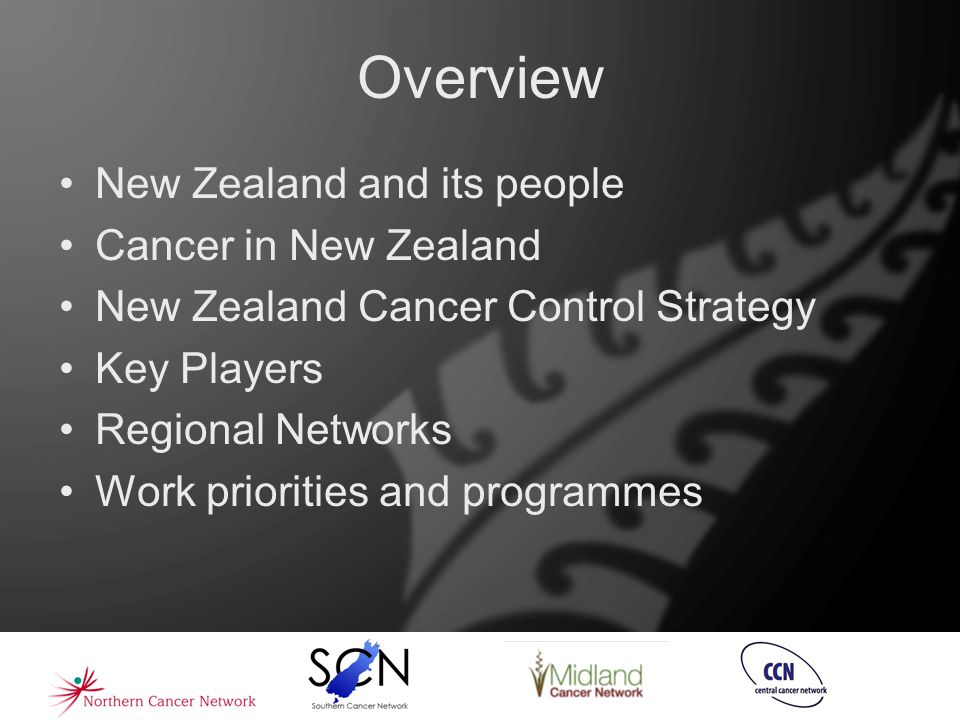 Overview New Zealand and its people Cancer in New Zealand New Zealand Cancer Control Strategy Key Players Regional Networks Work priorities and progra