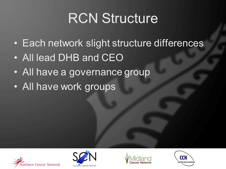 RCN Structure Each network slight structure differences All lead DHB and CEO All have a governance group All have work groups