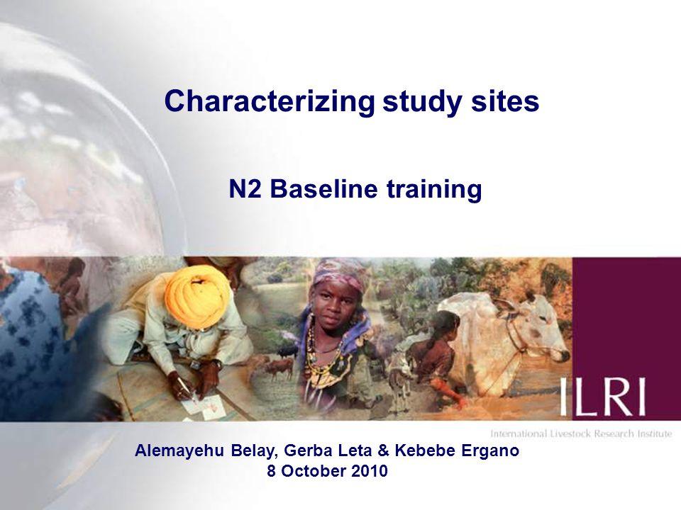 Characterizing study sites N2 Baseline training Alemayehu Belay, Gerba Leta & Kebebe Ergano 8 October 2010