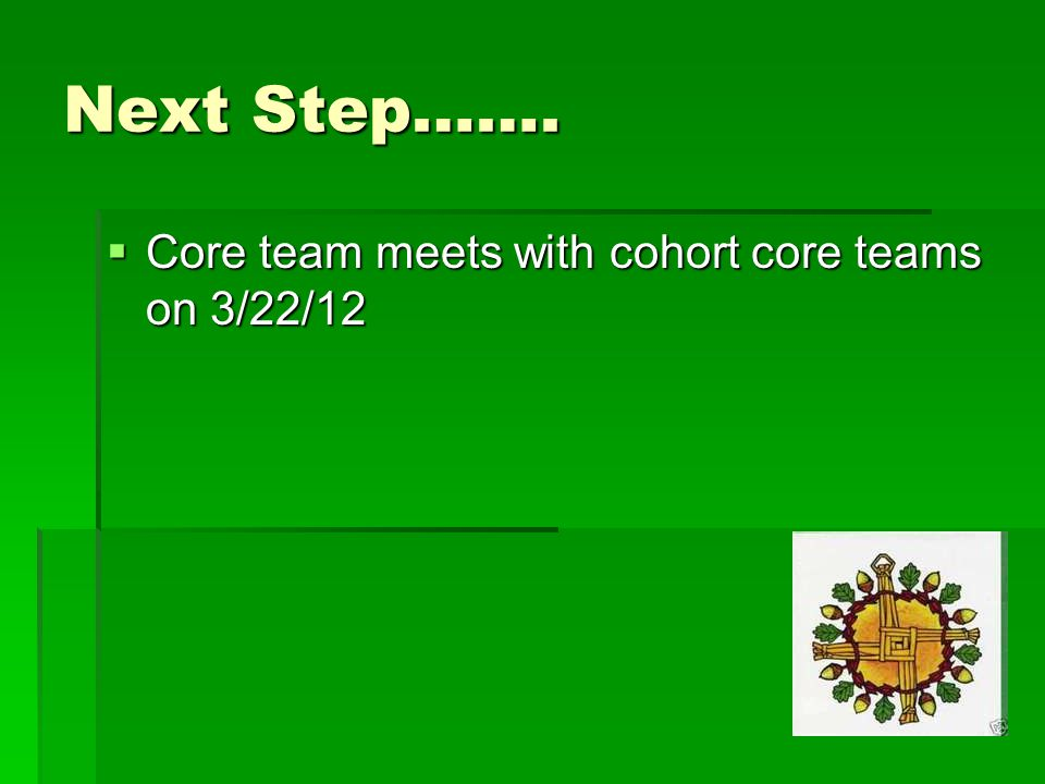 Next Step…….  Core team meets with cohort core teams on 3/22/12