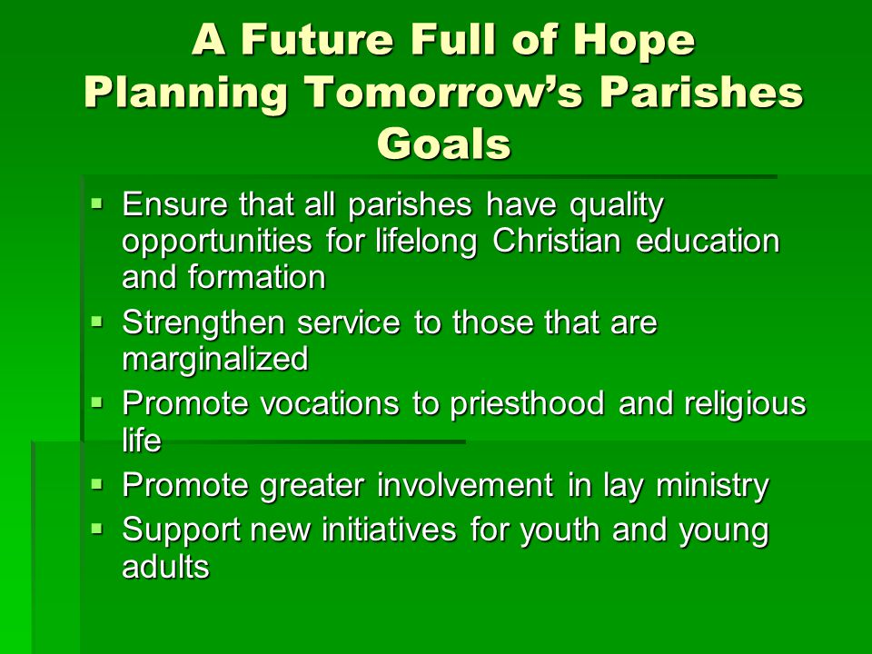 A Future Full of Hope Planning Tomorrow's Parishes Goals  Ensure that all parishes have quality opportunities for lifelong Christian education and fo