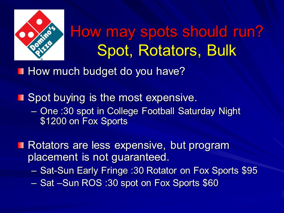 How may spots should run. Spot, Rotators, Bulk How much budget do you have.
