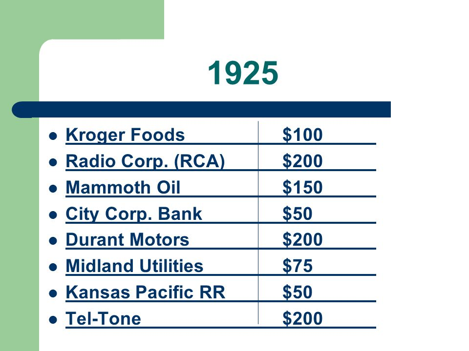 1925 Kroger Foods$100 Radio Corp. (RCA)$200 Mammoth Oil$150 City Corp. Bank$50 Durant Motors$200 Midland Utilities$75 Kansas Pacific RR$50 Tel-Tone$20