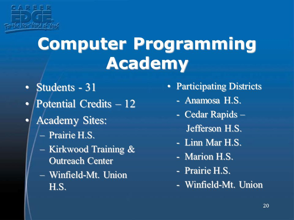 20 Computer Programming Academy Students - 31Students - 31 Potential Credits – 12Potential Credits – 12 Academy Sites:Academy Sites: –Prairie H.S.