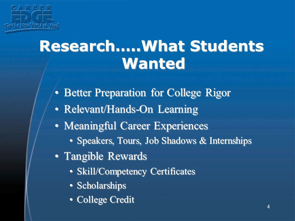 4 Research…..What Students Wanted Better Preparation for College RigorBetter Preparation for College Rigor Relevant/Hands-On LearningRelevant/Hands-On