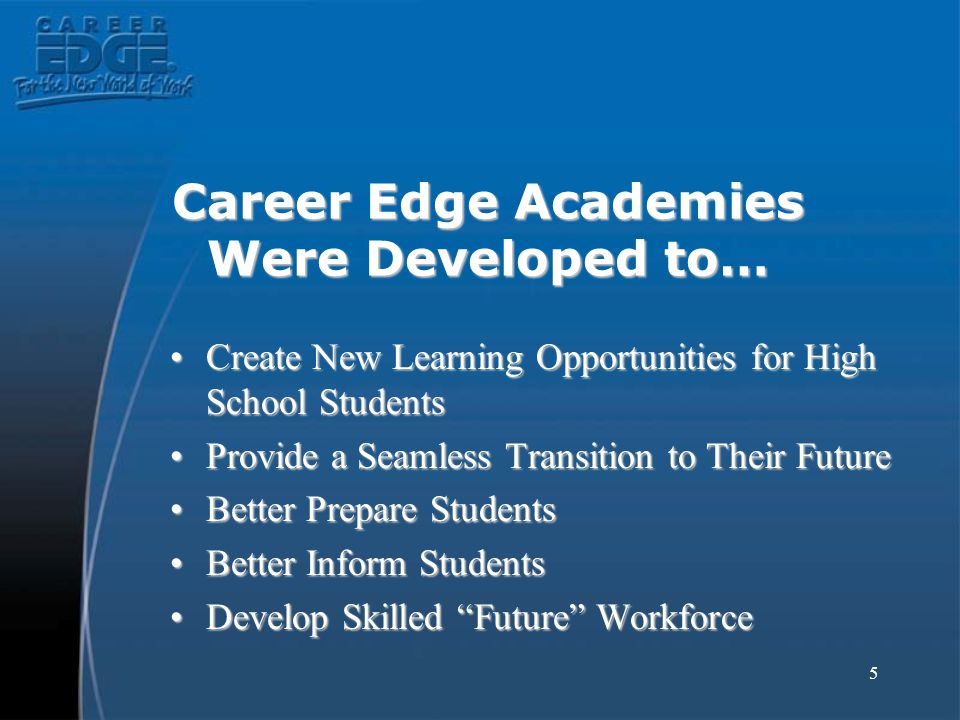 5 Career Edge Academies Were Developed to… Create New Learning Opportunities for High School StudentsCreate New Learning Opportunities for High School