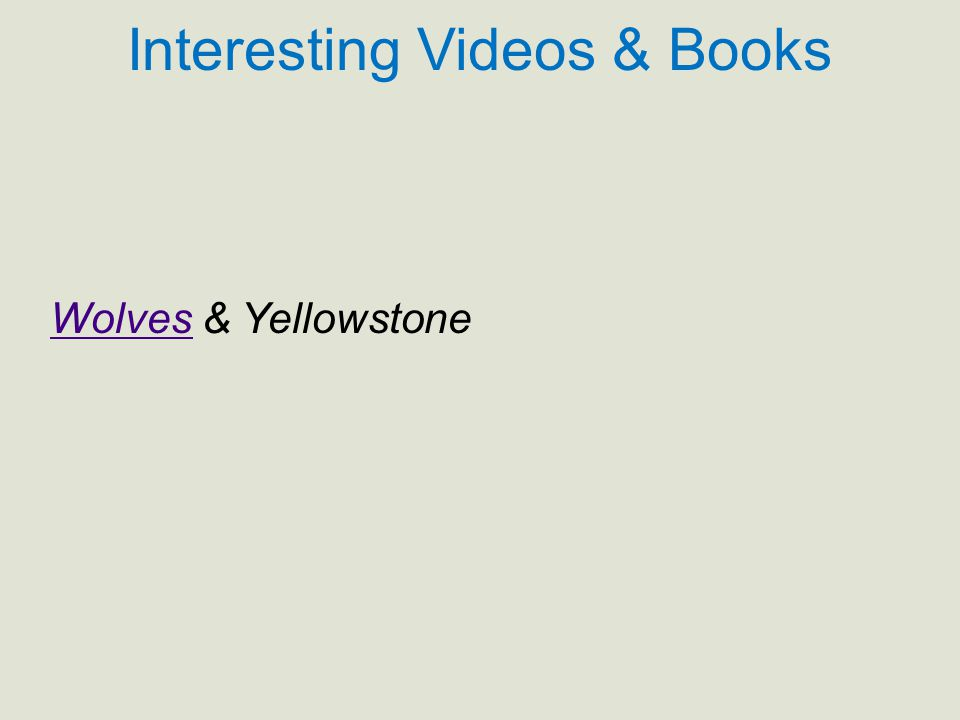 Interesting Videos & Books WolvesWolves & Yellowstone