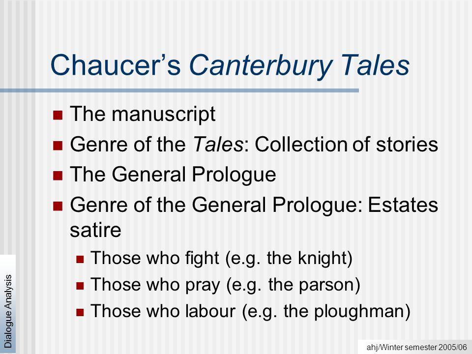 ahj/Winter semester 2005/06 Dialogue Analysis Social hierarchy of Chaucer's England Source: Jeffrey L.