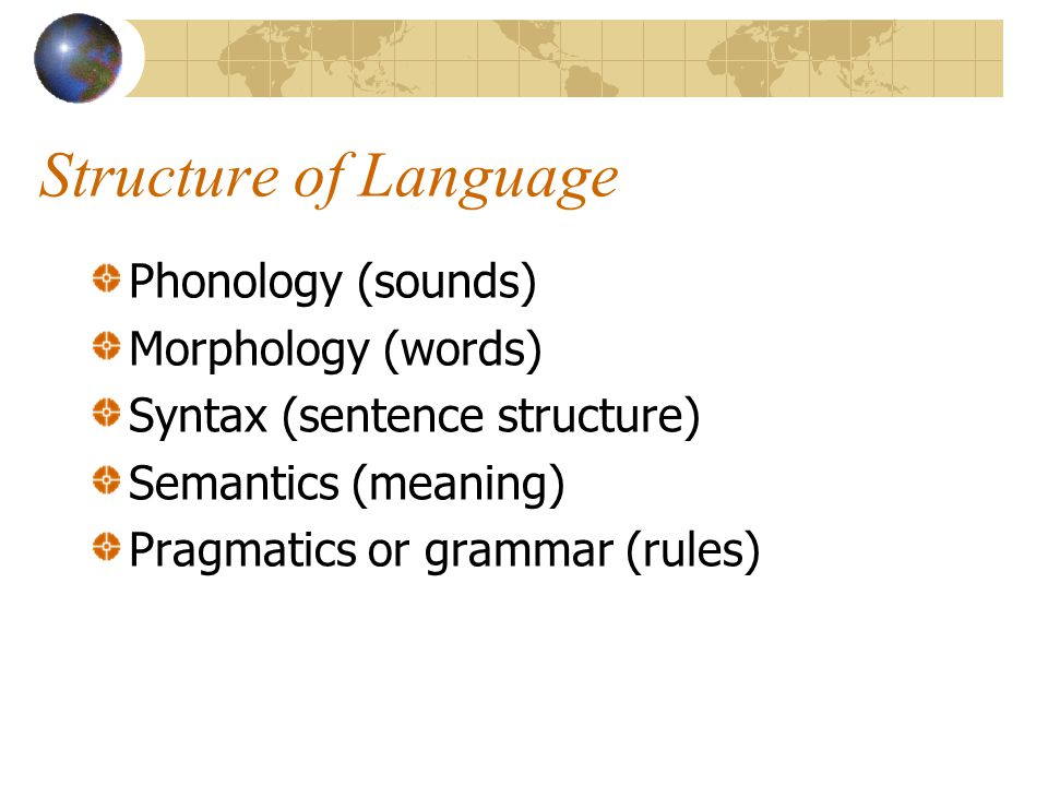 Structure of Language Phonology (sounds) Morphology (words) Syntax (sentence structure) Semantics (meaning) Pragmatics or grammar (rules)