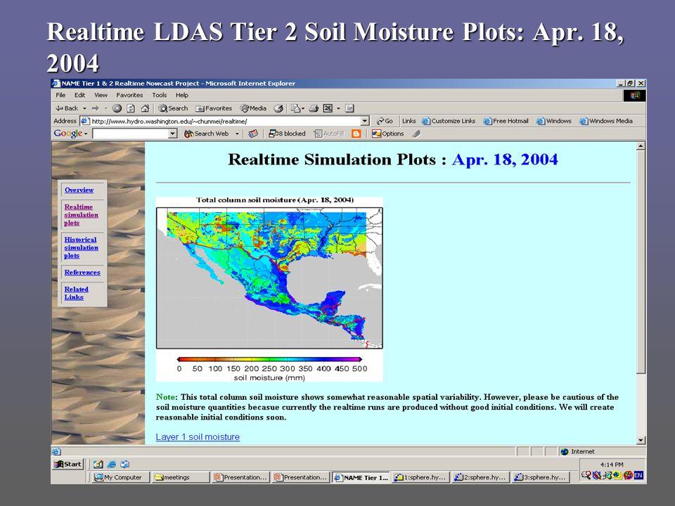 Realtime LDAS Tier 2 Soil Moisture Plots: Apr. 18, 2004