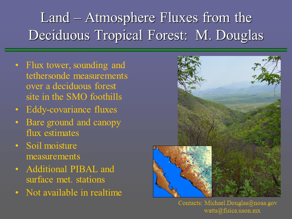 Land – Atmosphere Fluxes from the Deciduous Tropical Forest: M.