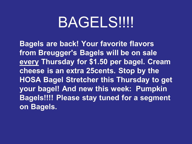 BAGELS!!!. Bagels are back.