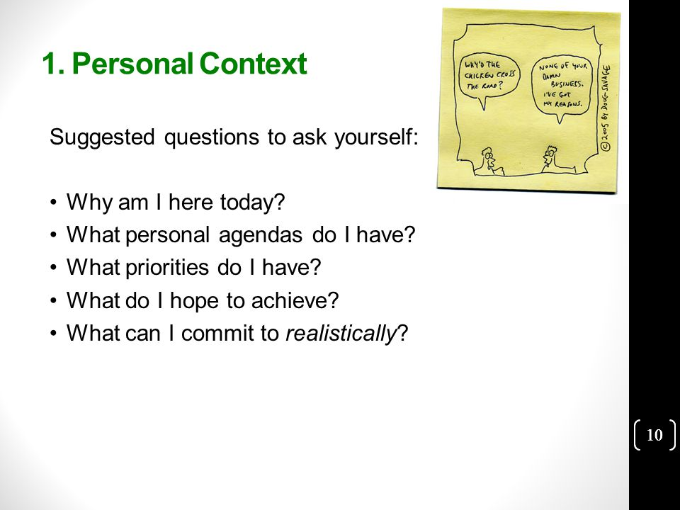 10 1. Personal Context Suggested questions to ask yourself: Why am I here today.