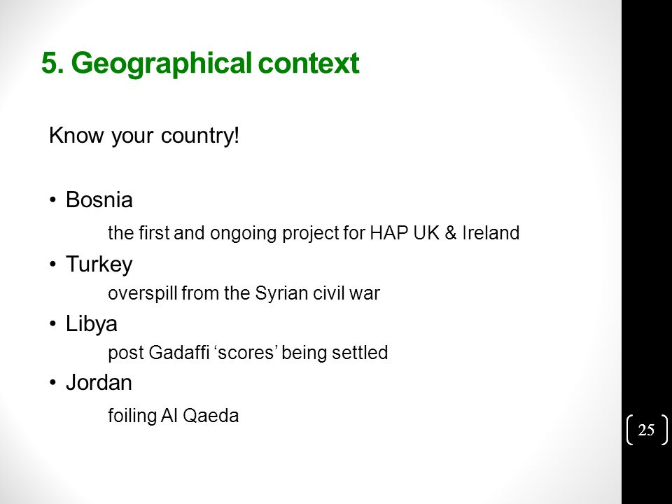 25 5. Geographical context Know your country.