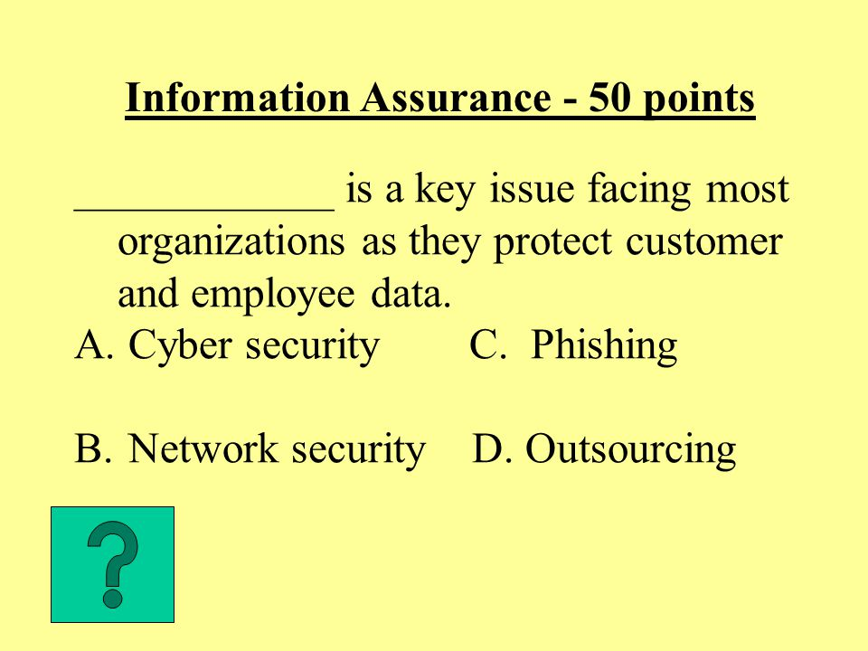 Information Assurance - 50 points ____________ is a key issue facing most organizations as they protect customer and employee data.