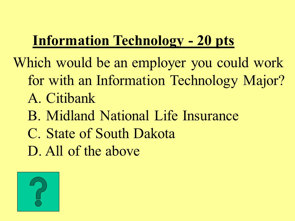 Information Technology - 30 pts An IT major takes support courses in which Area.