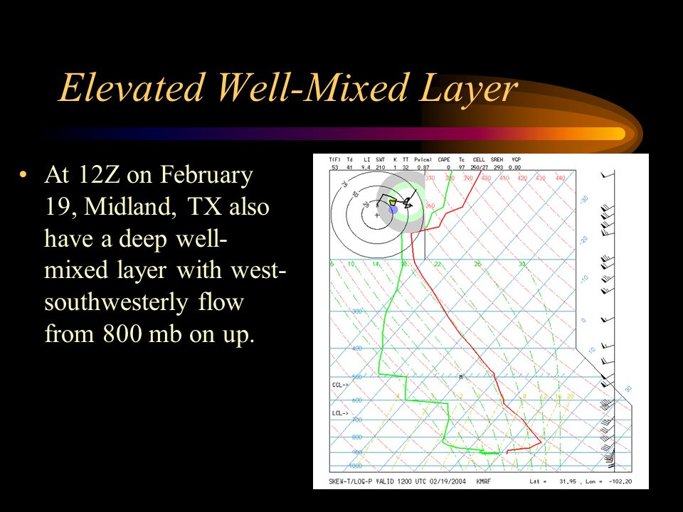 Elevated Well-Mixed Layer At 12Z on February 19, Midland, TX also have a deep well- mixed layer with west- southwesterly flow from 800 mb on up.