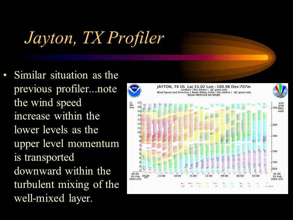 Jayton, TX Profiler Similar situation as the previous profiler...note the wind speed increase within the lower levels as the upper level momentum is t