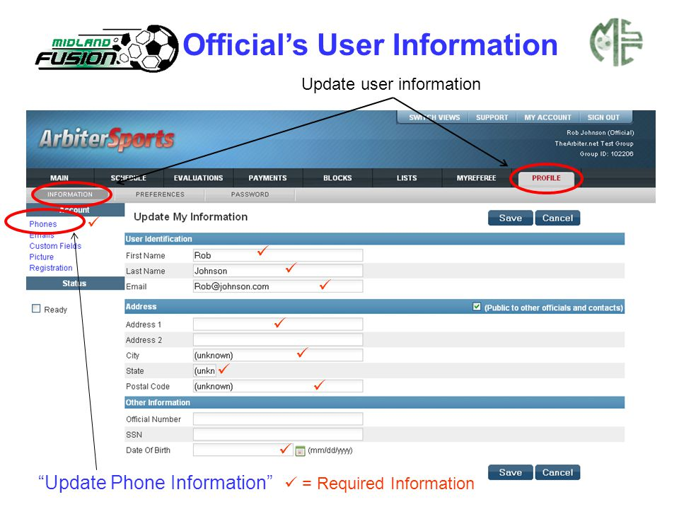 "Official's User Information Update user information ""Update Phone Information"" = Required Information"