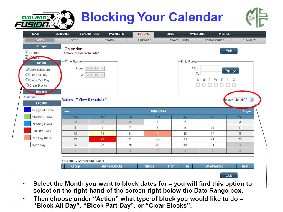 Select the Month you want to block dates for – you will find this option to select on the right-hand of the screen right below the Date Range box. The