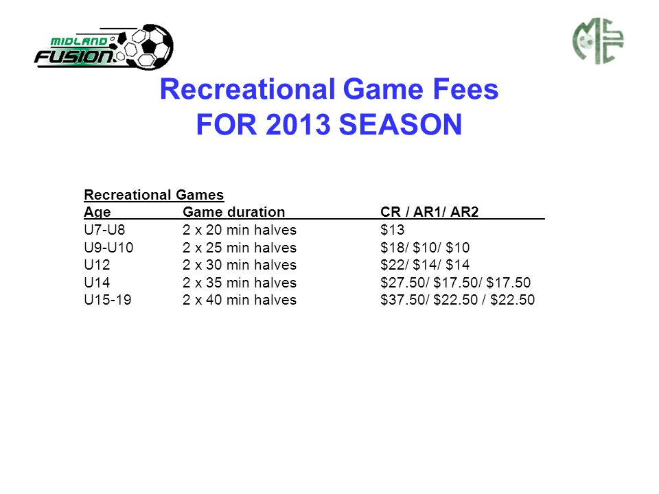 Recreational Game Fees FOR 2013 SEASON Recreational Games AgeGame durationCR / AR1/ AR2 U7-U82 x 20 min halves$13 U9-U10 2 x 25 min halves$18/ $10/ $1