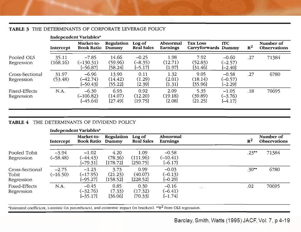 Barclay, Smith, Watts (1995) JACF, Vol. 7, p 4-19