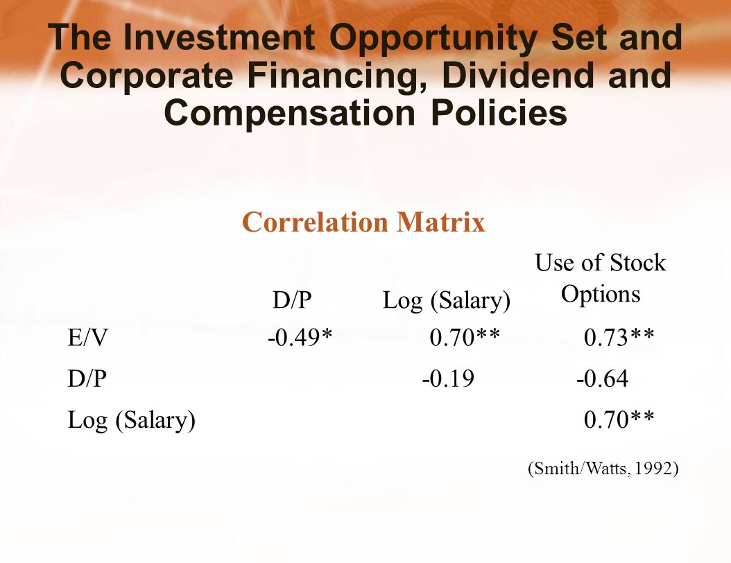 The Investment Opportunity Set and Corporate Financing, Dividend and Compensation Policies (Smith/Watts, 1992) Correlation Matrix D/PLog (Salary) Use of Stock Options E/V-0.49*0.70**0.73** D/P-0.19-0.64 Log (Salary)0.70**