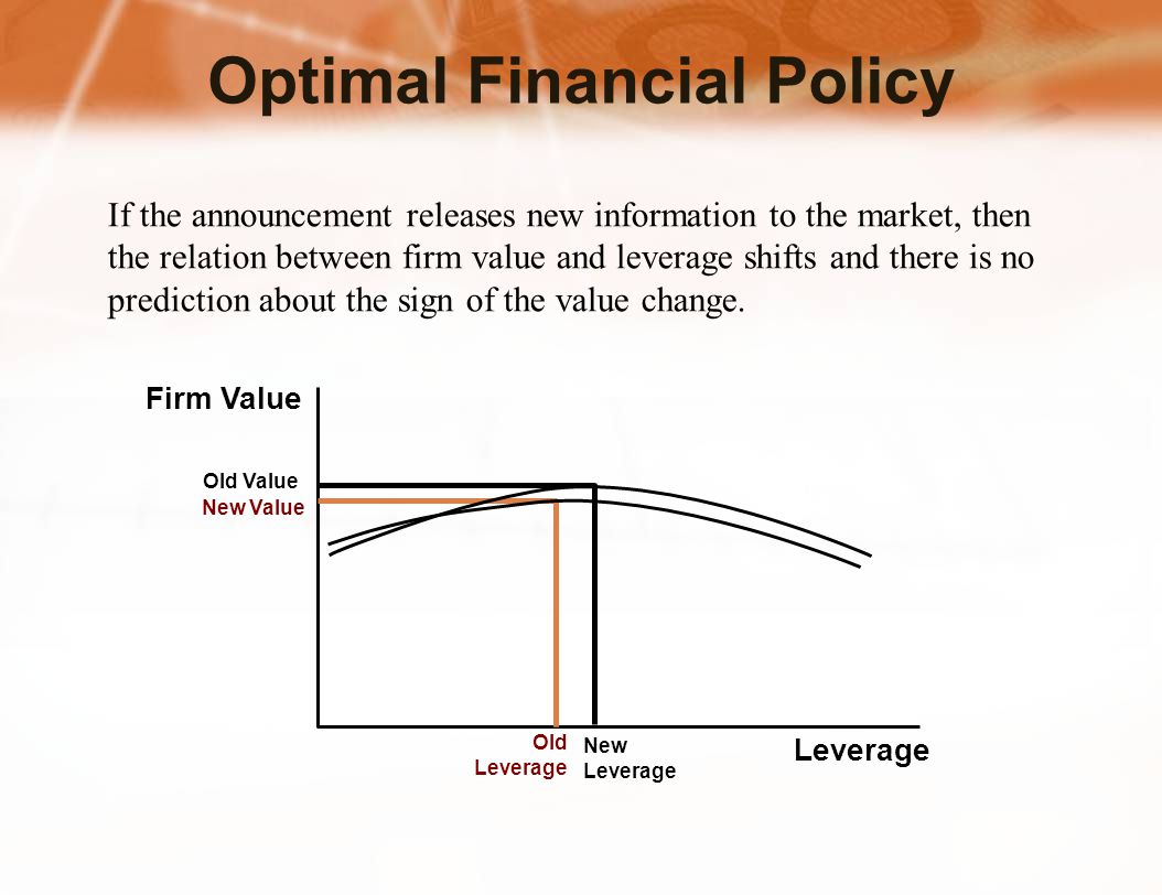 If the announcement releases new information to the market, then the relation between firm value and leverage shifts and there is no prediction about the sign of the value change.