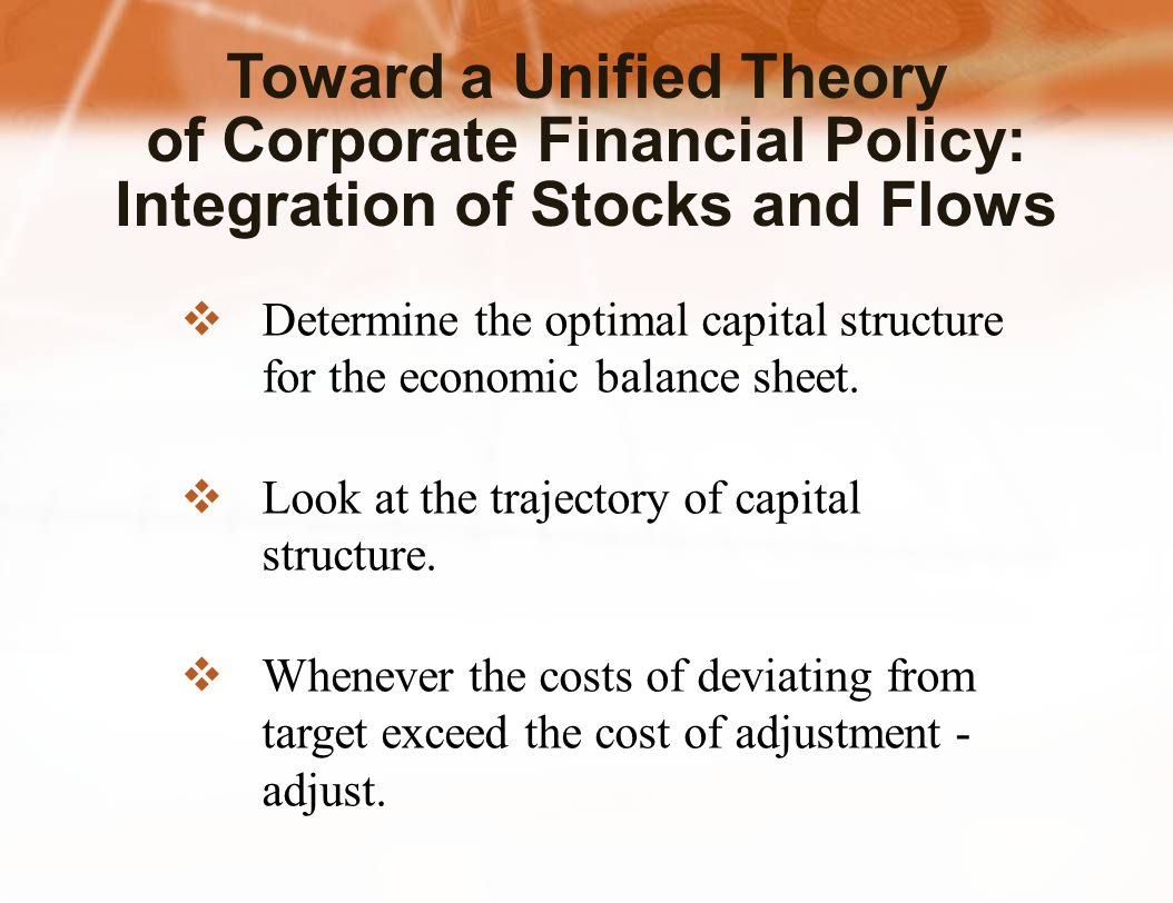  Determine the optimal capital structure for the economic balance sheet.  Look at the trajectory of capital structure.  Whenever the costs of devia