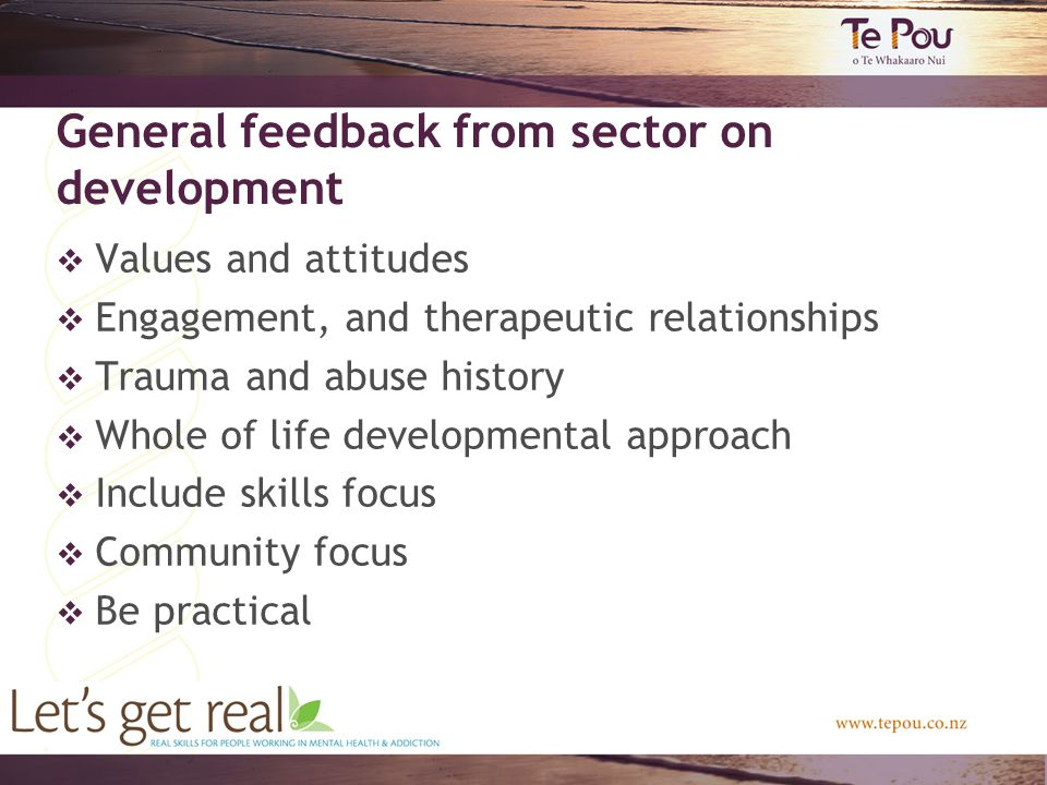 General feedback from sector on development  Values and attitudes  Engagement, and therapeutic relationships  Trauma and abuse history  Whole of life developmental approach  Include skills focus  Community focus  Be practical