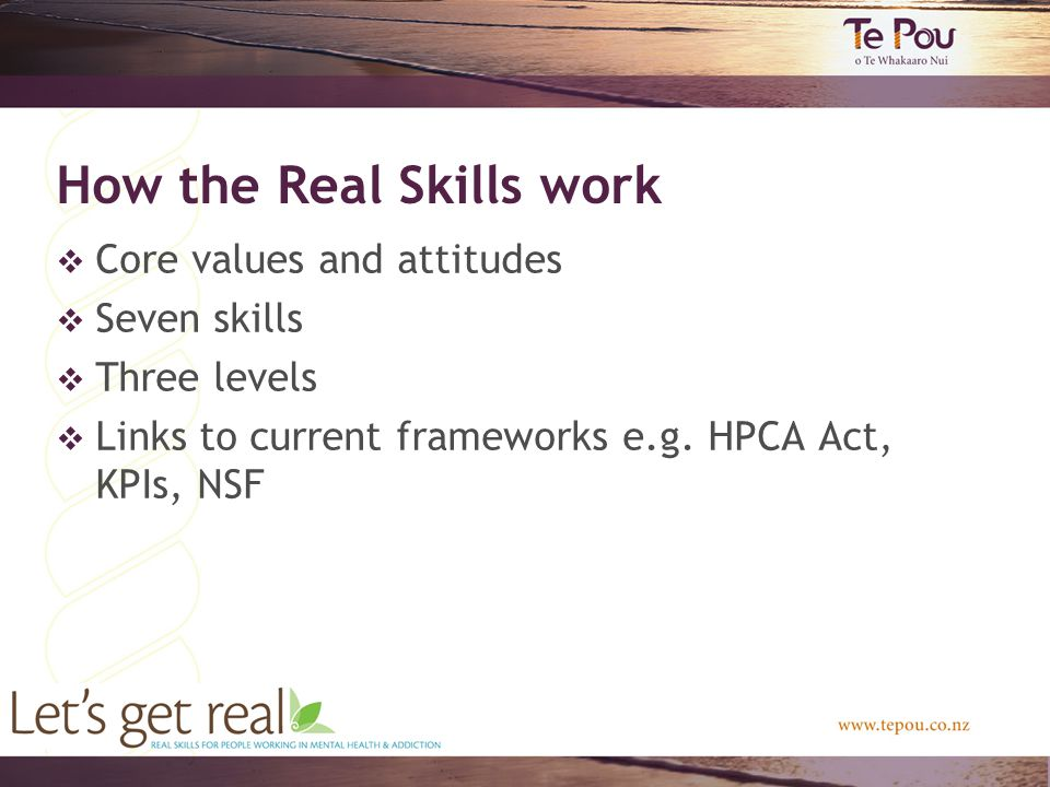 How the Real Skills work  Core values and attitudes  Seven skills  Three levels  Links to current frameworks e.g.