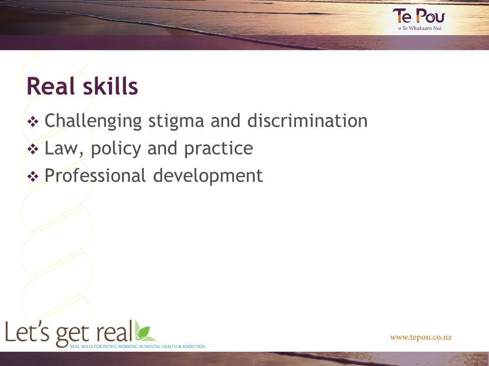 Real skills  Challenging stigma and discrimination  Law, policy and practice  Professional development