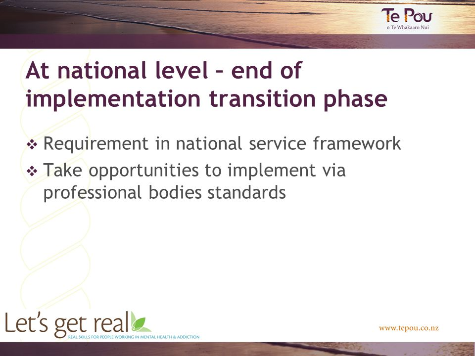 At national level – end of implementation transition phase  Requirement in national service framework  Take opportunities to implement via professional bodies standards
