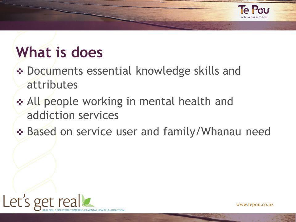 What is does  Documents essential knowledge skills and attributes  All people working in mental health and addiction services  Based on service user and family/Whanau need