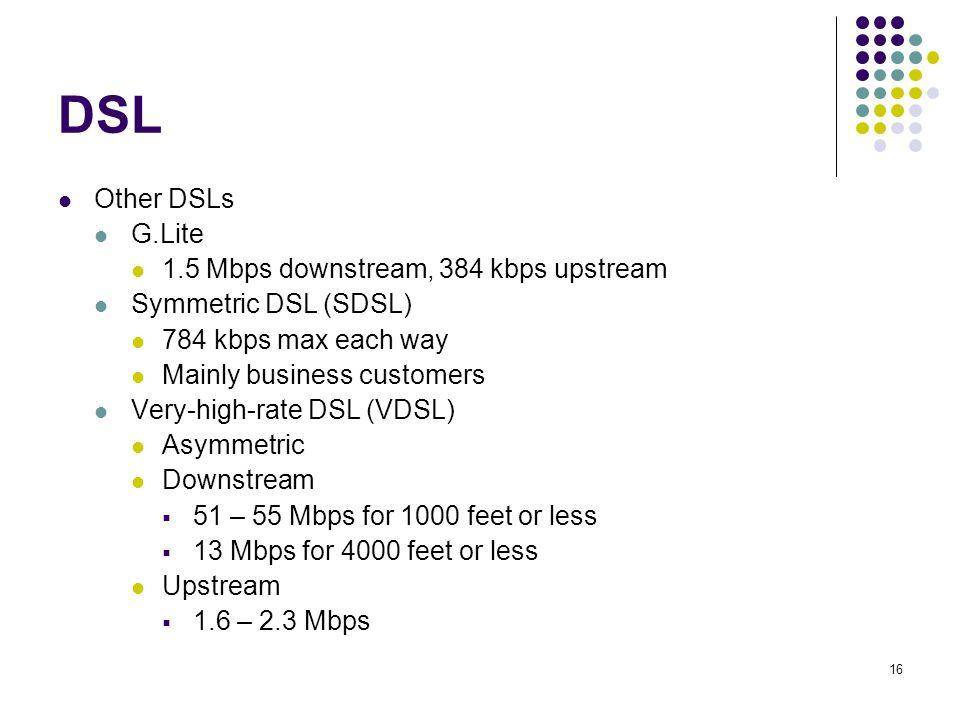 16 DSL Other DSLs G.Lite 1.5 Mbps downstream, 384 kbps upstream Symmetric DSL (SDSL) 784 kbps max each way Mainly business customers Very-high-rate DSL (VDSL) Asymmetric Downstream  51 – 55 Mbps for 1000 feet or less  13 Mbps for 4000 feet or less Upstream  1.6 – 2.3 Mbps