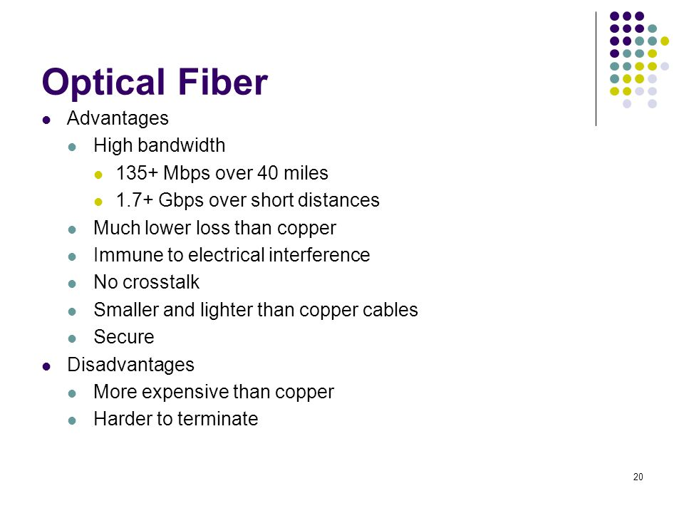 20 Optical Fiber Advantages High bandwidth 135+ Mbps over 40 miles 1.7+ Gbps over short distances Much lower loss than copper Immune to electrical int