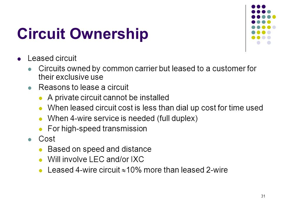 31 Circuit Ownership Leased circuit Circuits owned by common carrier but leased to a customer for their exclusive use Reasons to lease a circuit A private circuit cannot be installed When leased circuit cost is less than dial up cost for time used When 4-wire service is needed (full duplex) For high-speed transmission Cost Based on speed and distance Will involve LEC and/or IXC Leased 4-wire circuit  10% more than leased 2-wire