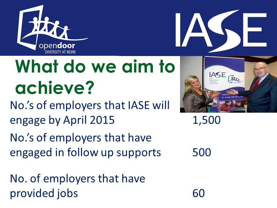 What do we aim to achieve? No.'s of employers that IASE will engage by April 20151,500 No.'s of employers that have engaged in follow up supports500 N