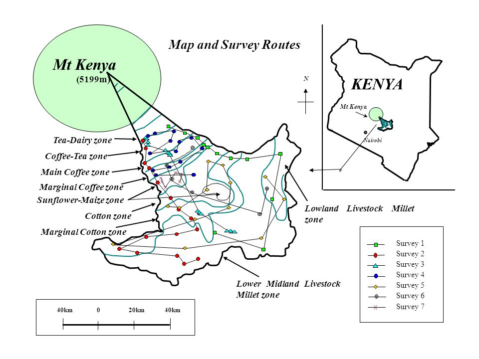 Mt Kenya Tea-Dairy zone Map and Survey Routes N Coffee-Tea zone Main Coffee zone Marginal Coffee zone Sunflower-Maize zone Cotton zone Marginal Cotton zone Lower Midland Livestock Millet zone Lowland Livestock Millet zone Mt Kenya (5199m) KENYA Survey 1 Survey 2 Survey 3 Survey 4 Survey 5 Survey 6 Survey 7 Nairobi 020km40km