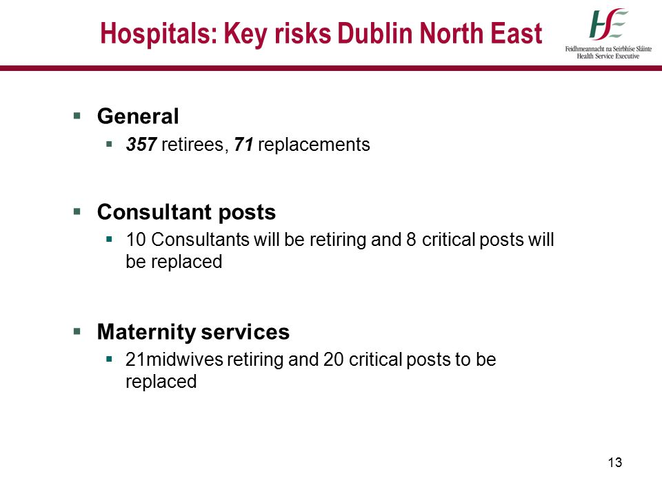 13 Hospitals: Key risks Dublin North East  General  357 retirees, 71 replacements  Consultant posts  10 Consultants will be retiring and 8 critica