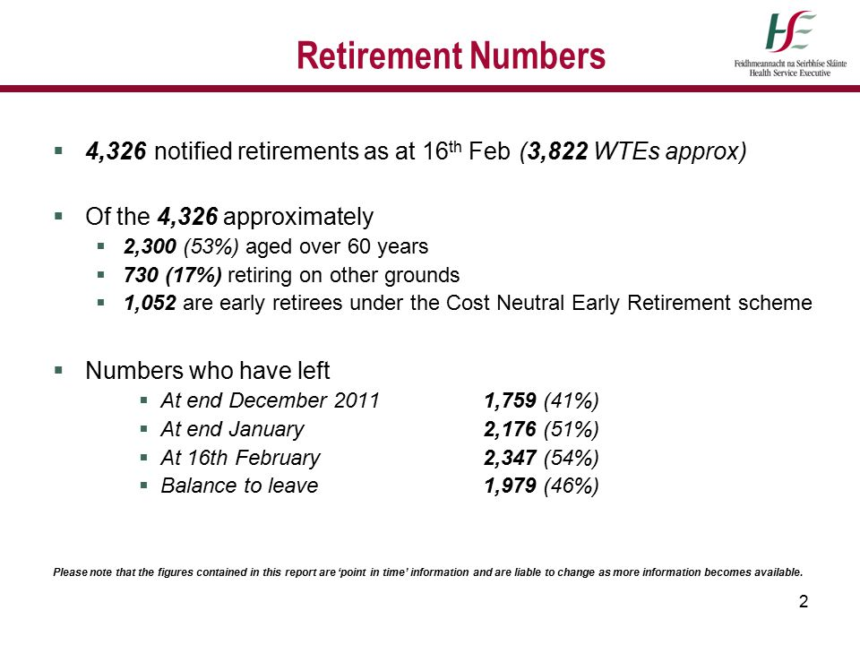 2 Retirement Numbers  4,326 notified retirements as at 16 th Feb (3,822 WTEs approx)  Of the 4,326 approximately  2,300 (53%) aged over 60 years 