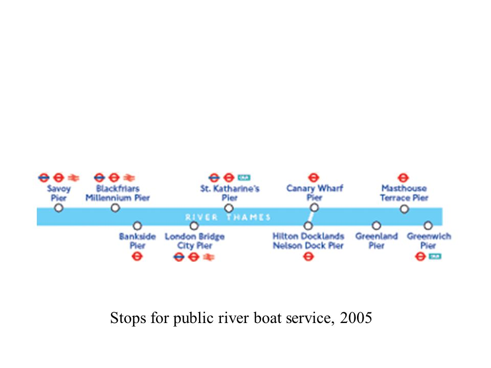 Stops for public river boat service, 2005