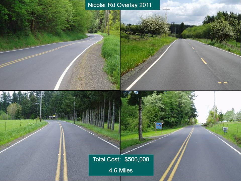 Nicolai Rd Overlay 2011 Total Cost: $500,000 4.6 Miles