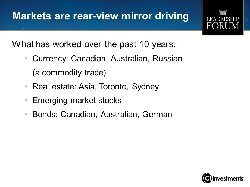 Markets are rear-view mirror driving What has worked over the past 10 years: Currency: Canadian, Australian, Russian (a commodity trade) Real estate: