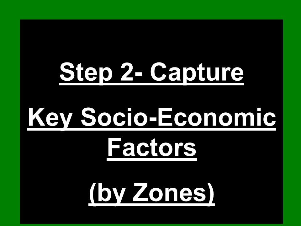 Step 2- Capture Key Socio-Economic Factors (by Zones)