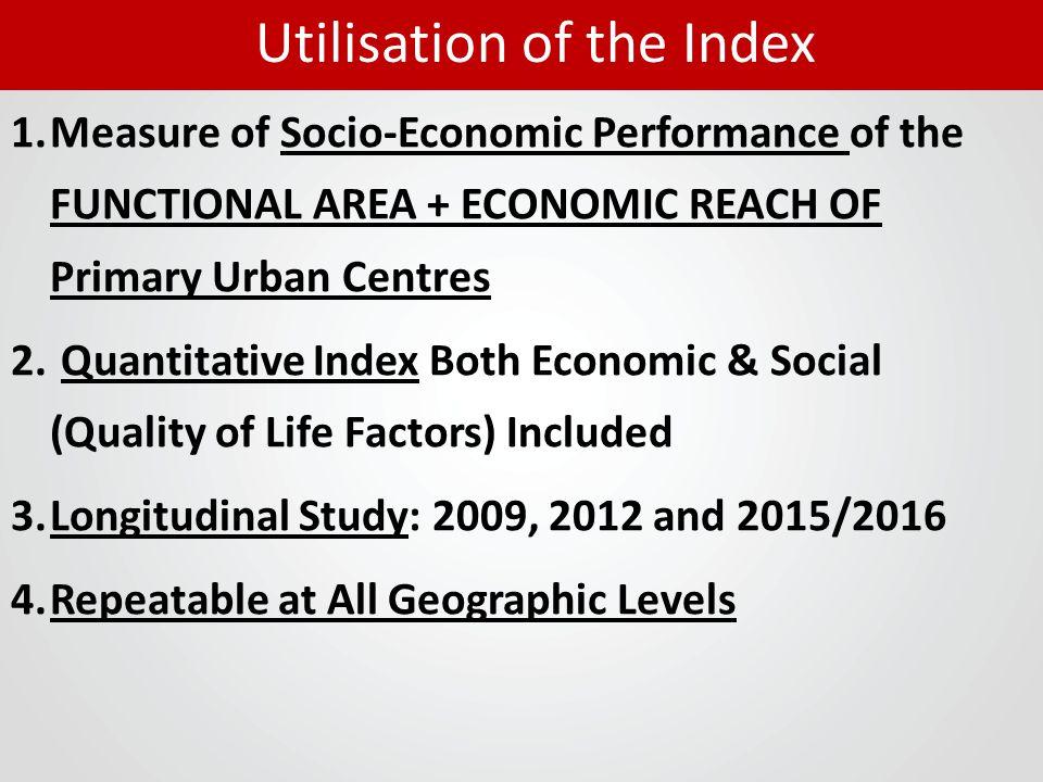 1.Measure of Socio-Economic Performance of the FUNCTIONAL AREA + ECONOMIC REACH OF Primary Urban Centres 2. Quantitative Index Both Economic & Social