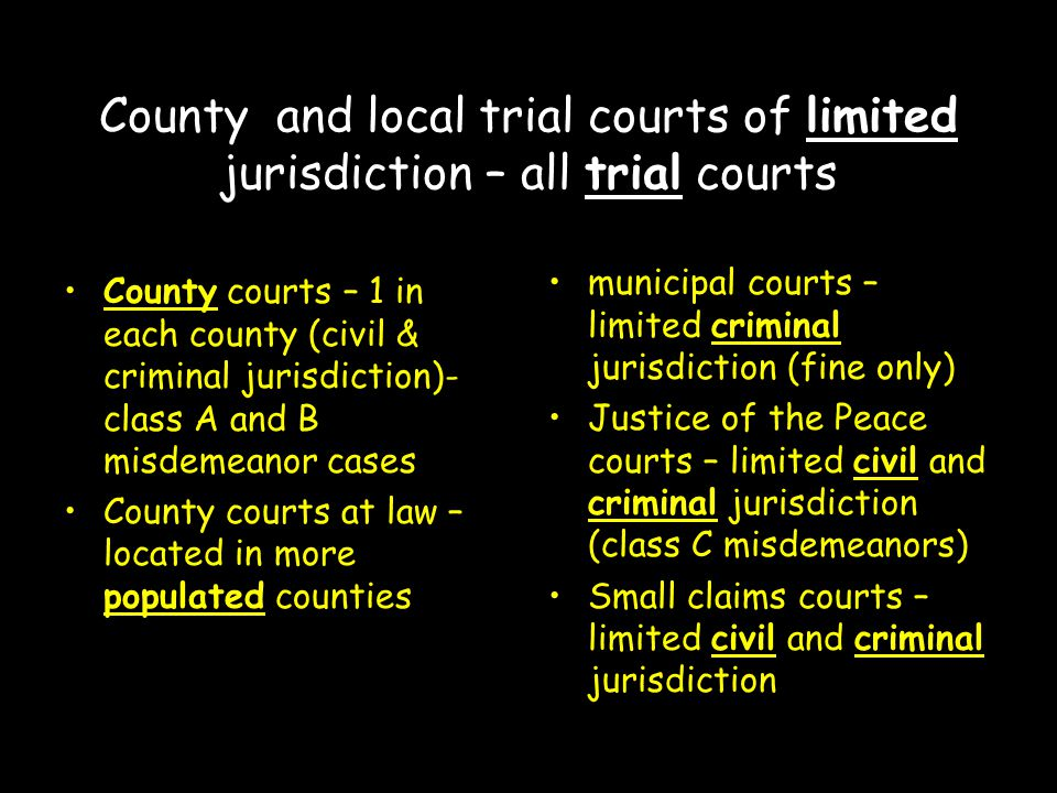 County and local trial courts of limited jurisdiction – all trial courts County courts – 1 in each county (civil & criminal jurisdiction)- class A and B misdemeanor cases County courts at law – located in more populated counties municipal courts – limited criminal jurisdiction (fine only) Justice of the Peace courts – limited civil and criminal jurisdiction (class C misdemeanors) Small claims courts – limited civil and criminal jurisdiction