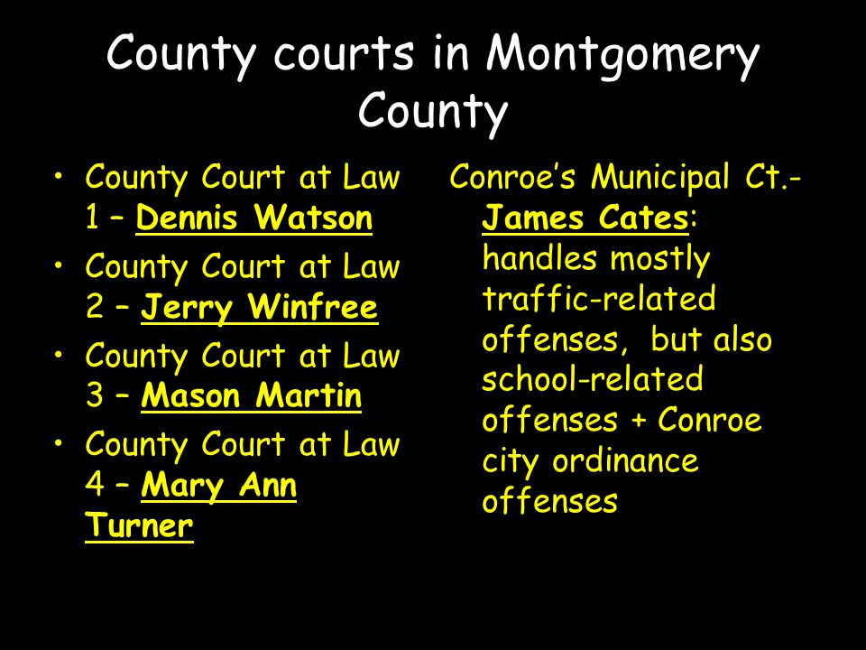 County courts in Montgomery County County Court at Law 1 – Dennis Watson County Court at Law 2 – Jerry Winfree County Court at Law 3 – Mason Martin County Court at Law 4 – Mary Ann Turner Conroe's Municipal Ct.- James Cates: handles mostly traffic-related offenses, but also school-related offenses + Conroe city ordinance offenses